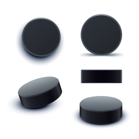 puck: hockey puck set Illustration