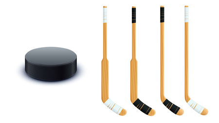 puck: puck and sticks isolated