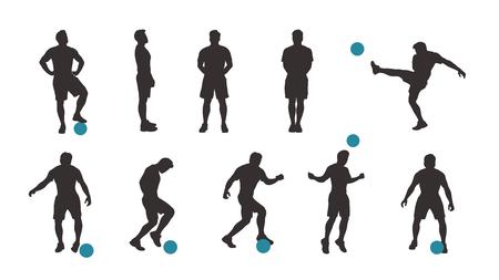soccer goal: soccer player silhouette set