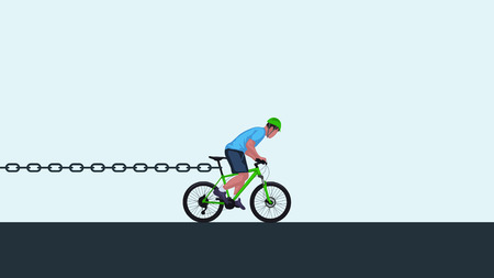 one wheel bike: chain stoping bicycle Illustration