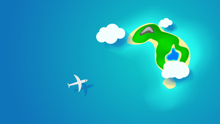 island with airplane Illustration