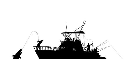 illustration of silhouette boat fishing isolated on white background Illustration