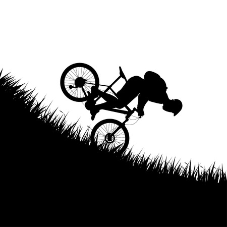 man falling from bicycle Illustration