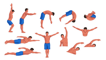elite sport: swimming man set Illustration