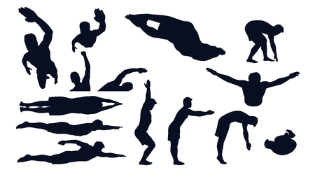 swimming male silhouette set 일러스트