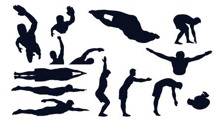 swimming male silhouette set Vettoriali