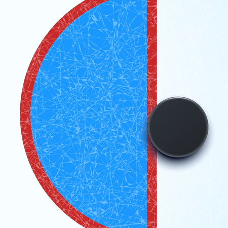 Hockey rink wth puck Illustration