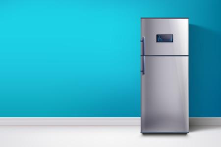 Réfrigérateur au mur bleu Banque d'images - 91309324