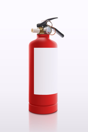 illustration of red fire extinguisher with soft shadow and reflection on white background