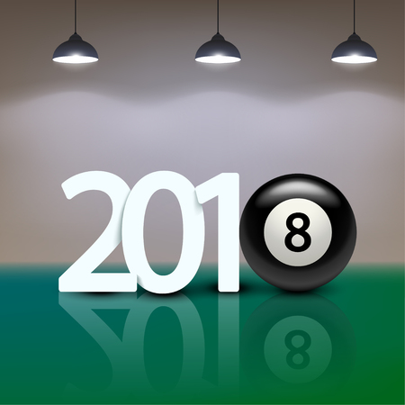illustration of new year numbers with billiard ball as eight on green background with lights