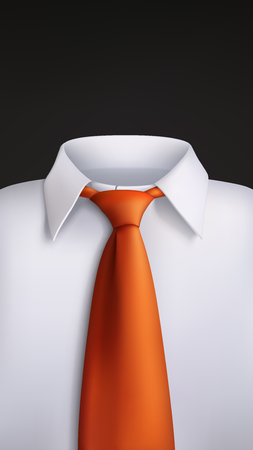 Illustration of white shirt with orange tie on black background