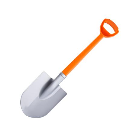 Orange realistic plastic shovel isolated on white background