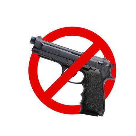 銃のサインなし、ベクトルイラストは白い背景に隔離されています。  イラスト・ベクター素材