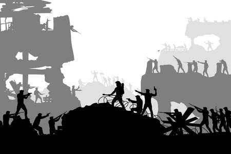 War battle silhouette with soldiers