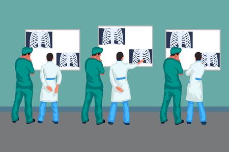 doctors looking at xray Stock Illustratie