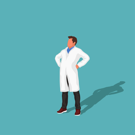 doctor in a confident pose Vector illustration.