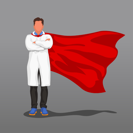 doctor with red cape Vector illustration.