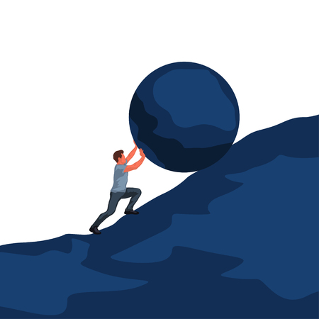 man pushing boulder uphill Vector illustration.