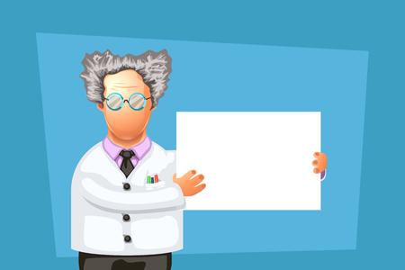 crazy scientist with board Vector illustration. Illustration