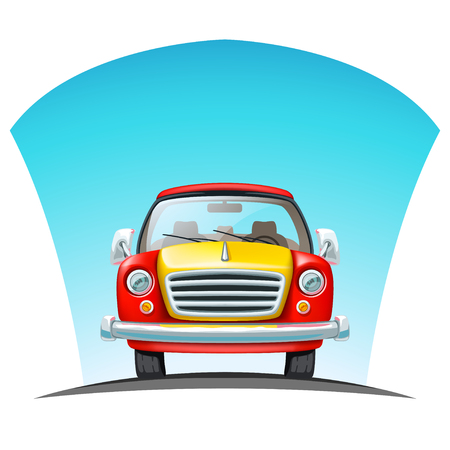 Car in front view on road illustration.