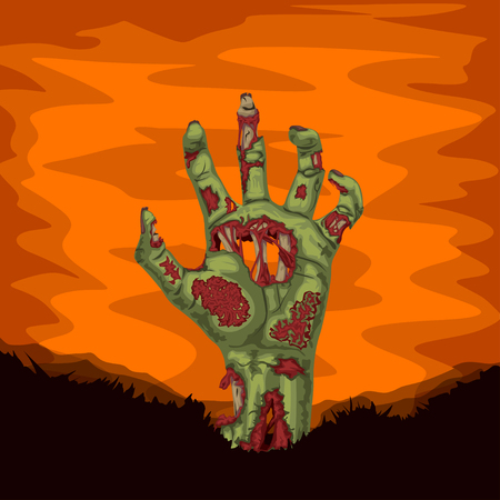 Zombie hand rising from ground illustration.