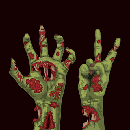 illustration of couple cartoon zombie hands green color on dark background