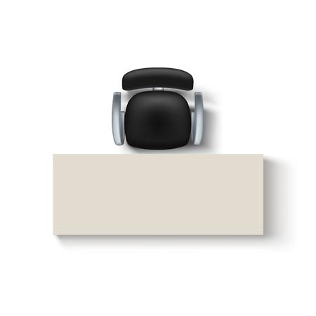 ilustración de la silla de color negro de la silla de color superior y el escritorio de la sombra en el fondo blanco