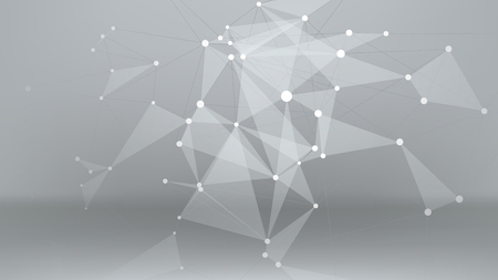 illustration of connected bright lines with dots and triangle surfaces on grey background Illustration