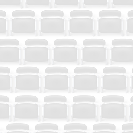 illustration of top view to a lot of black chairs on white background