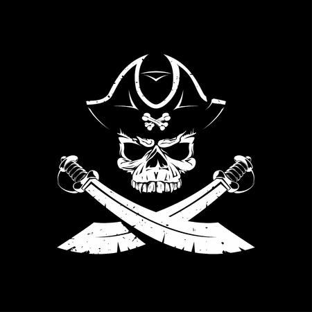 piraat schedel pictogram op zwart