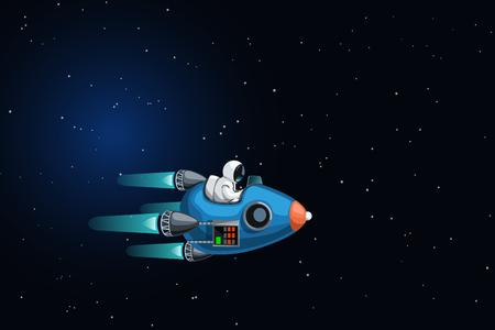 astronaut in spaceship flying Illustration