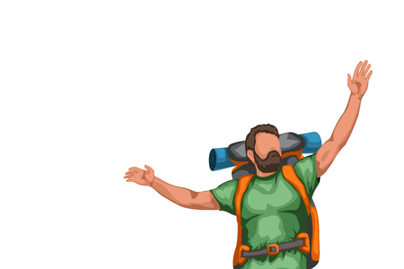 tourist with hands up Illustration