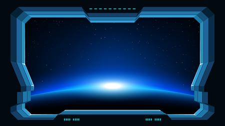 ventana futurista vista del planeta