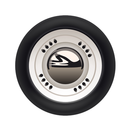 illustration of realistic retro car wheel with reflection isolated on white background Vettoriali