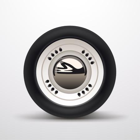 illustrazione di una ruota di automobile retrò realistica con ombre morbide su sfondo luminoso