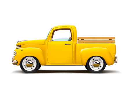 illustration of realistic retro pickup yellow color with a lot of chrome and shadow on white background