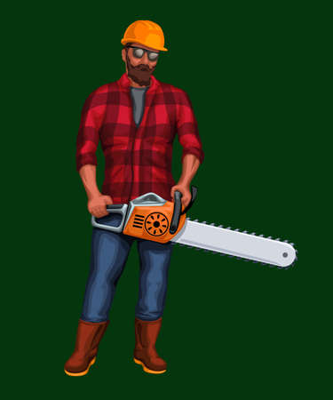 illustration of lumberjack holding chainsaw on green background
