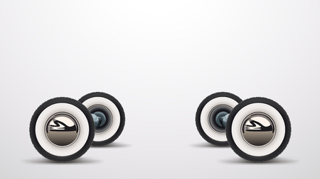 illustration of realistic retro car wheels with reflection and soft shadows on white background