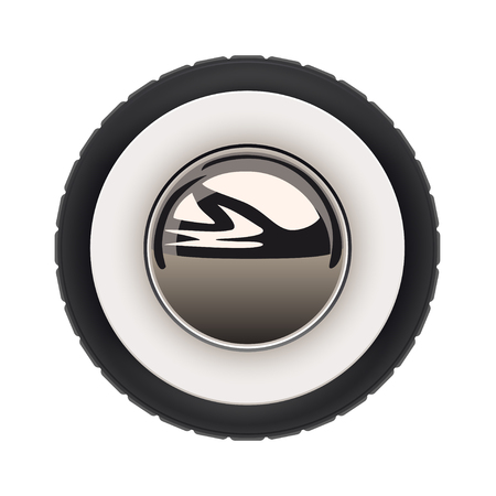 illustration of realistic retro car wheel with reflection isolated on white background