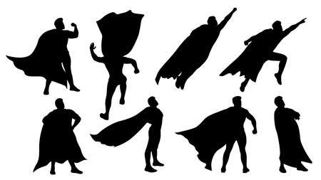conjunto de silueta de superhéroe