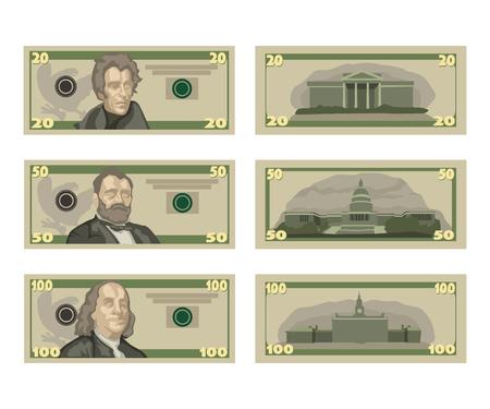 illustration of american dollars set isolated on white background 向量圖像