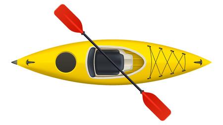 illustration of realistic yellow kayak isolated on white background