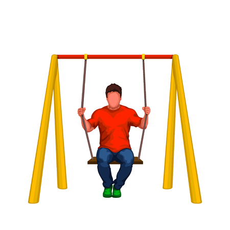 illustration of man sitting on swings isolated on white background Vettoriali