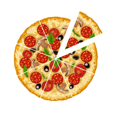 illustration of round meat and vegetables tasty pizza sliced isolated on white background