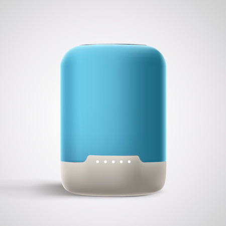 illustration of blue smart speaker on grey background with shadow