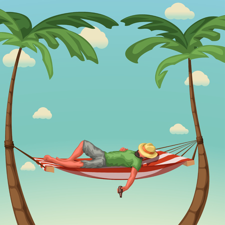 illustration of man in hammock with hat holding a bottle on colorful beach Stock Illustratie