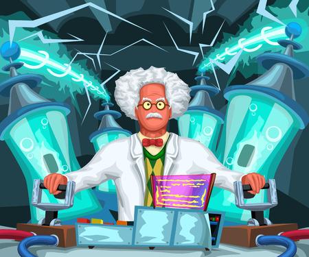 ilustracja szalonego naukowca przeprowadzającego testy z wysokim napięciem w laboratorium