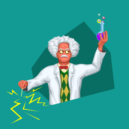 illustration of funny scientist in white coat holding some liquid and electricity in hands