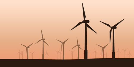 illustration of wind power turbines group silhouettes on field at sunset