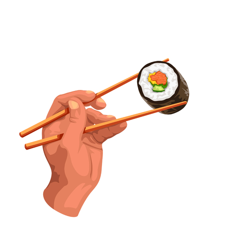 illustration of hand hold sushi roll by chopsticks isolated on white background